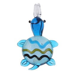 Murano Inspired Glass Blue Striped Turtle Pendant
