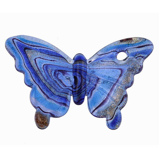Murano Inspired Glass Blue and Gold Swirling Butterfly Pendant