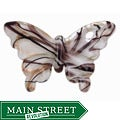 Murano Inspired Glass White/ Black/ Gold Butterfly Pendant