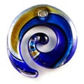 Murano Inspired Glass Blue/ Gold/ Silver Sparkling Curl Pendant