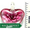 Hand-crafted Murano Clear Glass Pink Flower Heart Design Pendant