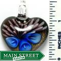 Murano Inspired Glass Gold/ Blue/ Pink Heart Pendant
