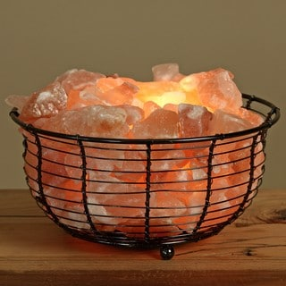 WBM Natural Himalayan Crystal Salt in Round Basket Lamp