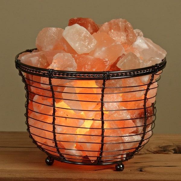 WBM Himalayan Crystal Salt Round Basket Lamp
