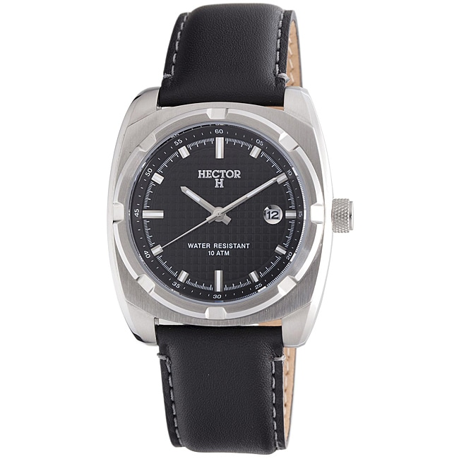 Hector H France Men's 'Fashion' Stainless-Steel Leather Strap Watch