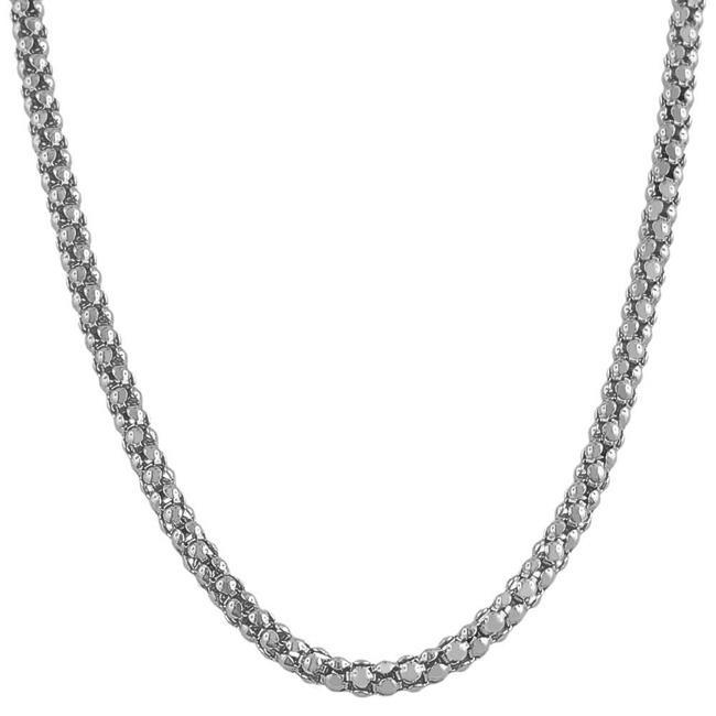 Fremada Rhodiumplated Silver 20-inch Popcorn Chain (3 mm)