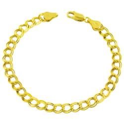 Fremada 14k Gold over Silver 7.5-inch Double Curb Chain Bracelet (6 mm)