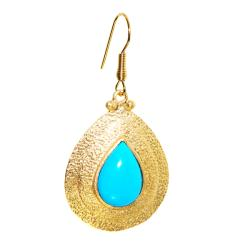 Adee Waiss 18k Gold Overlay Magnesite Turquiose Teardrop Earrings