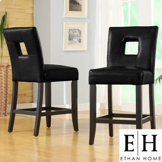 ETHAN HOME Mendoza Black Keyhole Counter Height Stool (Set of 2)