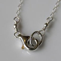 Hand-carved Sterling and Fine Silver Infinity Hessonite Garnet Necklace