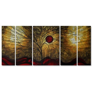 Megan Duncanson 'Red Waves' Metal Wall Art