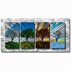 Ash Carl 'Four Seasons Tree Landscape' Metal Wall Art