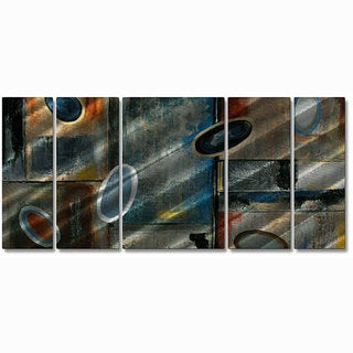Ruth Palmer 'Subtle Ovals' 5-piece Metal Wall Art Set