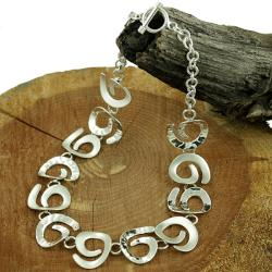 Sterling Silver Satin and Hammered Swirls Link Necklace (Mexico)