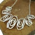 Sterling Silver Hammered Freeform Swirls Necklace (Mexico)