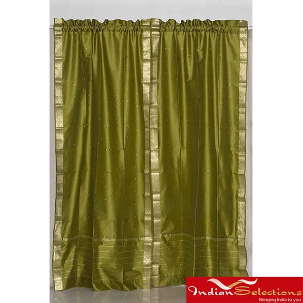 Indo Olive Green Rod Pocket Sari Sheer Curtain (43 in. x 84 in.)