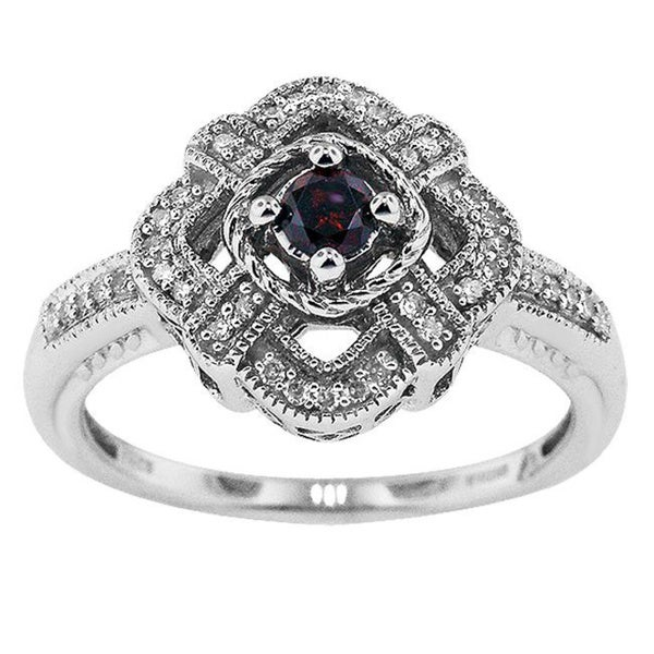 Silver 1/4ct TDW Diamond Vintage Cocktail Ring with Gift Box 9758251
