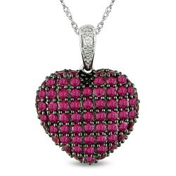 14k White Gold Created Ruby and Diamond Heart Necklace