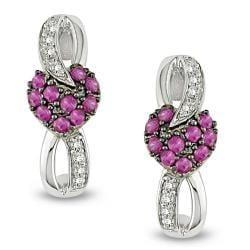 Miadora 10k White Gold Created Ruby 1/10ct TDW Diamond Earrings (G-H, I1-I2)