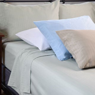 Microfiber Tuxedo Stripe 4-piece Queen/ King-size Sheet Set