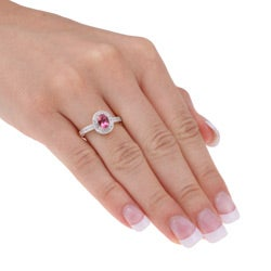 14k Gold Pink Tourmaline and 1/10ct TDW Diamond Ring (H-I, I2-I3)