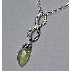 Sterling and Fine Silver Infinity Prehnite Necklace