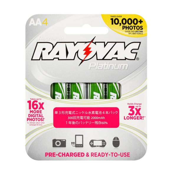 Rayovac AA 12 Pack Platinum Rechargeable Low Discharge NiMH Batteries
