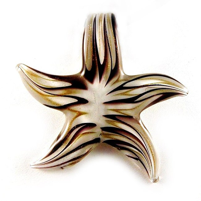 Murano Inspired Glass Gold and Brown Star Pendant
