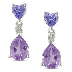Miadora 10k White Gold Amethyst, Tanzanite and Diamond Accent Earrings