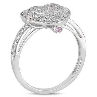 Miadora 10k Gold 1/5ct TDW Diamond and Pink Sapphire Heart Ring (H-I, I2-I3)