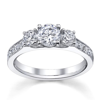 14k White Gold 1 1/2ct TDW Round-cut Diamond Engagement Ring (H-I, SI1-SI2)