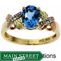 Black Hills Gold Blue Topaz and Diamond Ring