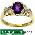 Black Hills Gold Amethyst and Diamond Ring