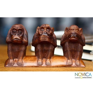 Wood 'Three Wise Monkeys' Sculpture (Indonesia)