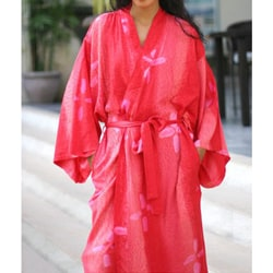 Women's Rayon 'Kissed By Crimson' Batik Robe (Indonesia)