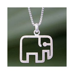 Sterling Silver 'Elephant Line' Necklace (Thailand)