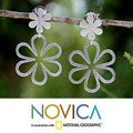Sterling Silver 'Flower Power' Dangle Earrings (Thailand)