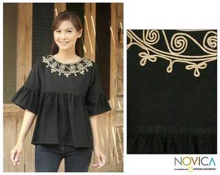 Women's Cotton 'Licorice Chic' Blouse (Thailand)