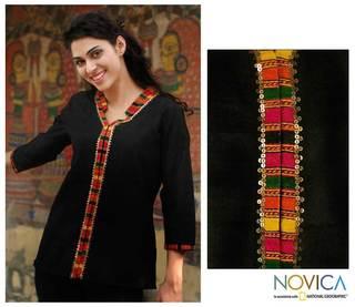 Women's Cotton 'Midnight Jewel' Blouse (India)