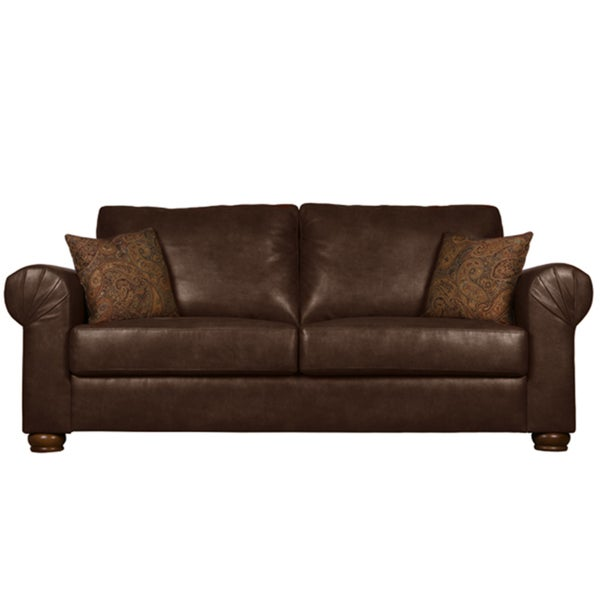 Portfolio Owen Brown Renu Leather Rolled Arm Sofa