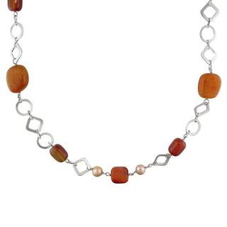 M by Miadora Pearls Silvertone Brass Red Agate Bead and Pink Pearl Necklace (7-8 mm) with B
