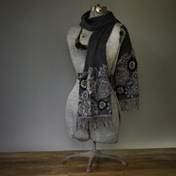 Boiled Wool sequined pattern stylish 'Midnight Breeze' Shawl (India)