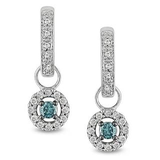 Miadora 10k Gold 1/3ct TDW Blue and White Diamond Hoop Earrings (I-J, I2-I3)