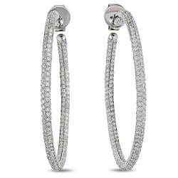Miadora 14k White Gold 2 1/2ct TDW Diamond Pave Hoop Earrings (G-H, SI1-SI2)
