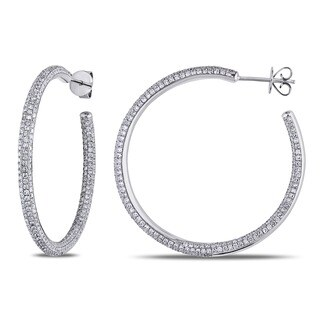 Shira Design 14k White Gold 2 1/2ct TDW Diamond Pave Hoop Earrings (G-H, SI1-SI2)