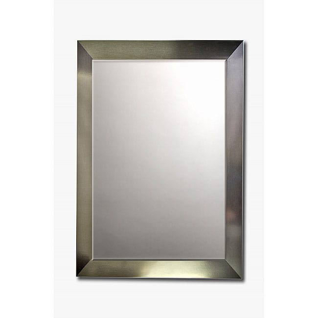 Stainless Steel Framed Beveled Wall Mirror 13031163