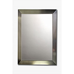 Stainless Steel Framed Beveled Wall Mirror