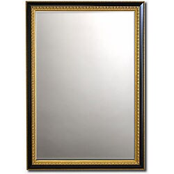 "Gilded Ebony-Framed Beveled Wall Mirror (42"" x 30"")"