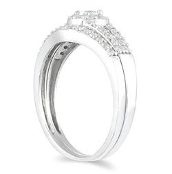 10k White Gold 3/8ct TDW Diamond Halo Bridal Ring Set (I-J, I1-I2)