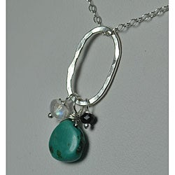 Sterling and Fine Silver Pendant with Turquoise, Spinel and Moonstone Necklace
